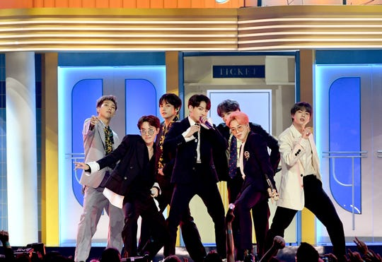 BTS perform onstage during the 2019 Billboard Music Awards at MGM Grand Garden Arena on May 01, 2019 in Las Vegas, Nevada.
