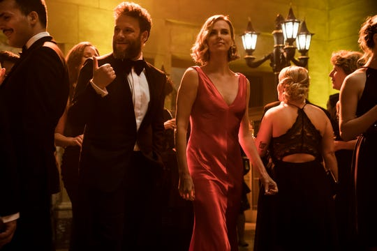 """Fred (Seth Rogen) and Charlotte (Charlize Theron) get pretty for a night of political networking in """"Long Shot."""""""