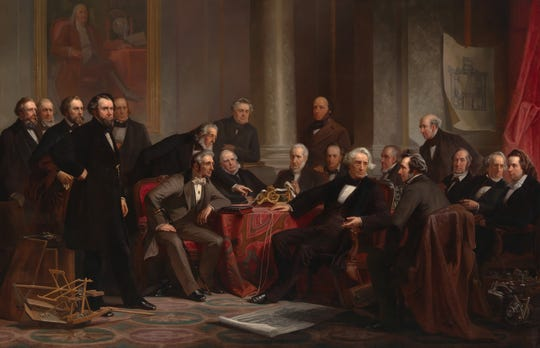 """The 1862 portrait """"Men of Progress"""" by Christian Schussele shows a group of 19 white, male American scientists and inventors who helped shape the economy."""
