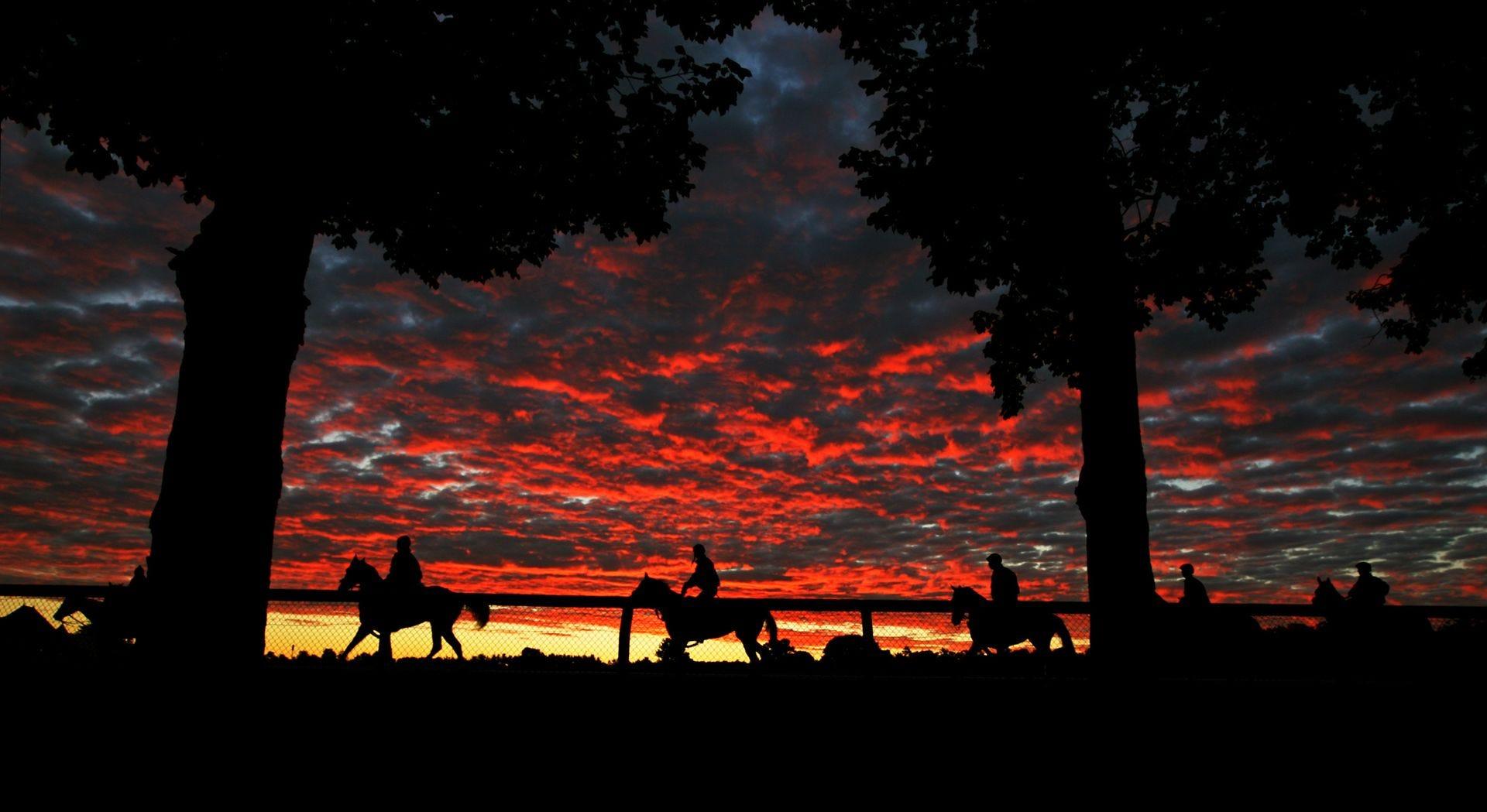 Sunrise during morning workouts at Saratoga.