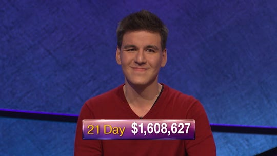 James Holzhauer, seen after a recent 'Jeopardy!' win, is getting closer to a prize-money milestone with each victory.