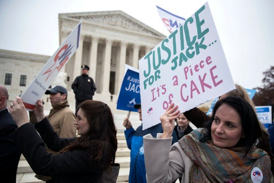 Demonstrators were outside the Supreme Court in December 2017 as a Colorado baker fought for the right to boycott a gay wedding. He won, but an almost identical case from Oregon is pending before the justices.