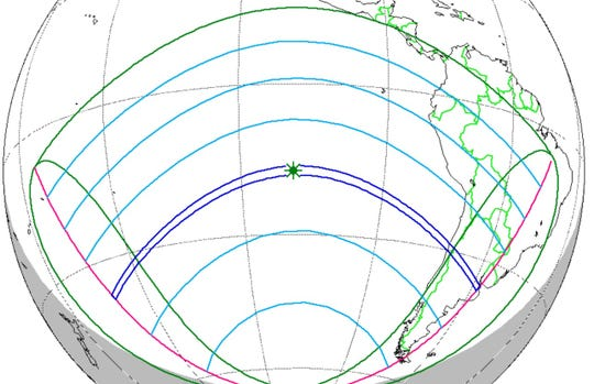 The blue stripe that stretches from the South Pacific Ocean (left) to South America (right) shows the path of the total solar eclipse of July 2, 2019. Portions of Chile and Argentina (right) will be the only major land areas where the eclipse will be visible. Other areas (in green and blue) will see varying degrees of a partial eclipse of the sun.