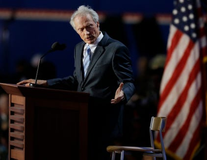 Actor Clint Eastwood speaks to an empty chair while addressing delegates during the Republican National Convention in Tampa, Florida, Aug. 30, 2012.