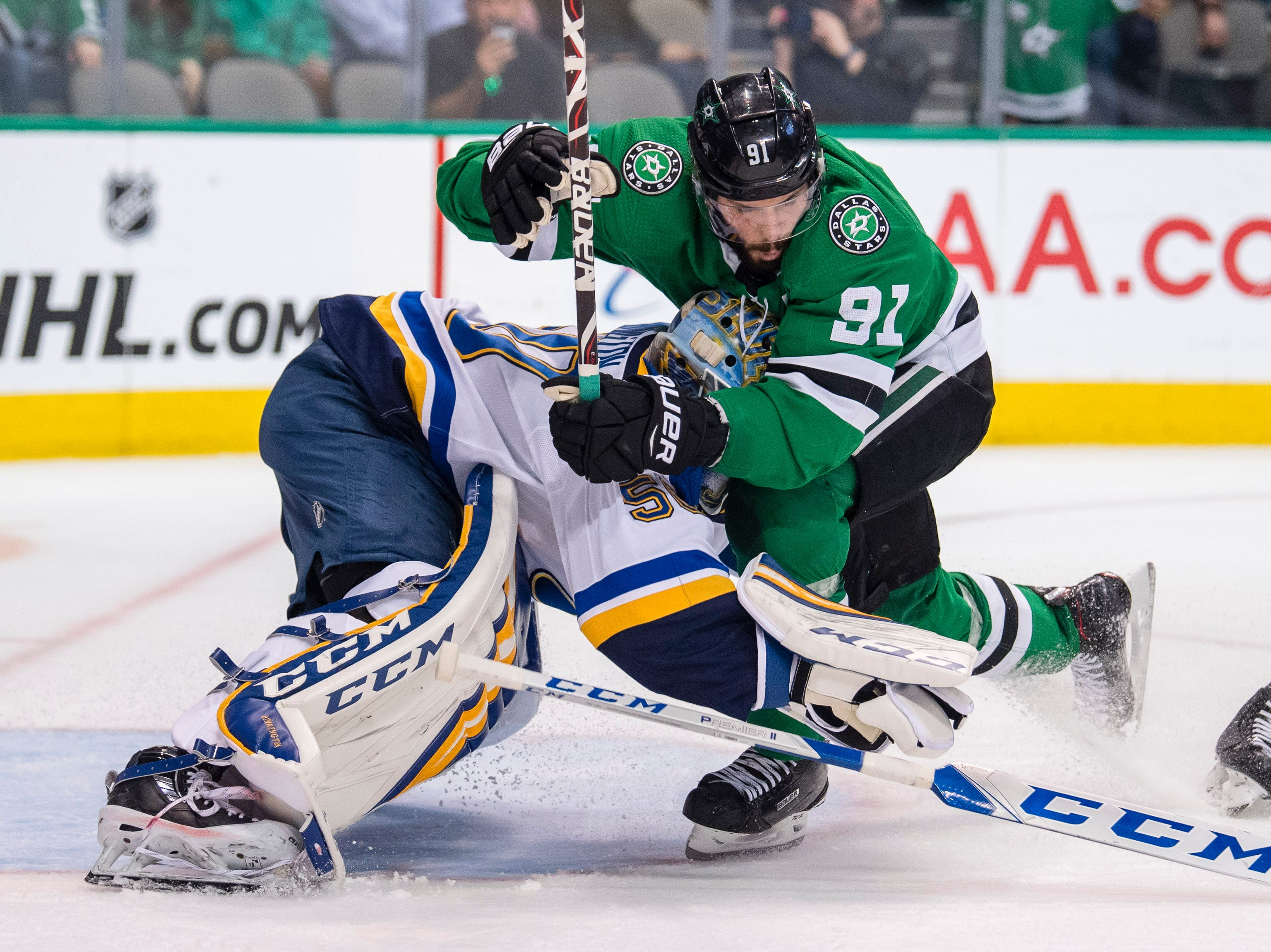 Second round: Dallas Stars center Tyler Seguin crashes into St. Louis Blues goaltender Jordan Binnington during the second period of Game 4.