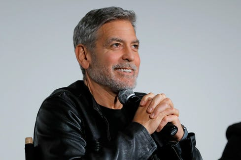 "George Clooney speaks onstage during Hulu's ""Catch-22"" New York Special Screening at DGA Theatre on May 01, 2019 in New York City."