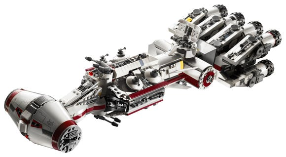 The new LEGO Tantive IV is 1,768 pieces and comes with Princess Leia, C-3PO and R2-D2 minifigures.