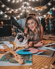 Doug the Pug with owner Leslie Mosier