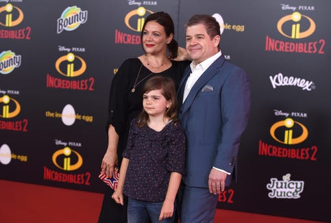 """Meredith Salenger, left, Alice Rigney Oswalt and Patton Oswalt at the Los Angeles premiere of """"Incredibles 2"""" last June."""