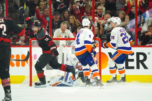 Second round: Carolina Hurricanes forward Justin Williams celebrates after scoring the game-winning goal in Game 3 against the New York Islanders.