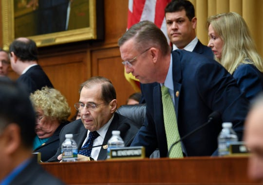Ranking Member of Judiciary Committee Rep. Doug Collins, R-Ga., leaves heatedly after adjournment of the hearing by House Judiciary Committee Chairman Jerry Nadler, D-N.Y., as Attorney General William Barr refused to appear before the House Judiciary Committee hearing about special counsel Robert Mueller's report and his handling of the investigation.