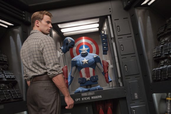 """Chris Evans' Steve Rogers/Captain America wore looser trousers back in """"The Avengers,"""" pictured. In """"Endgame,"""" even his casual pants are form-fitting."""