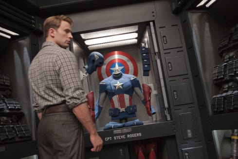 "Chris Evans' Steve Rogers/Captain America wore looser trousers back in ""The Avengers,"" pictured. In ""Endgame,"" even his casual pants are form-fitting."