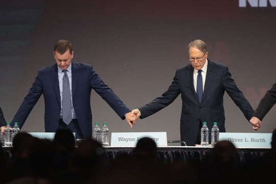 Chris Cox (L), executive director of the NRA-ILA, and Wayne LaPierre, NRA vice president and CEO attend the NRA annual meeting of members at the 148th NRA Annual Meetings & Exhibits on April 26, 2019 in Indianapolis, Indiana.