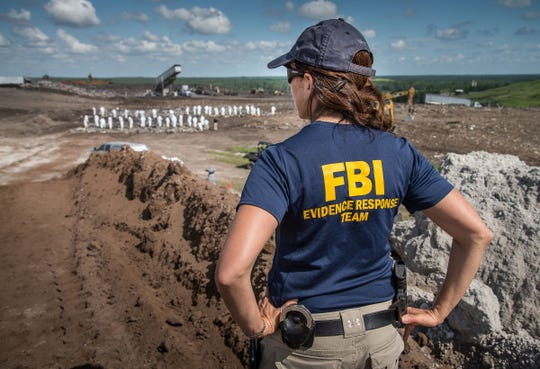 Lauren Regucci conducting a landfill search in July of 2018 in Folkston, Georgia, for evidence related to a homicide.