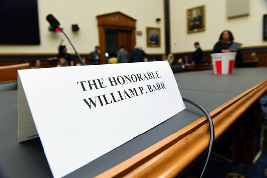 Attorney General William Barr refused to appear before the House Judiciary Committee hearing about special counsel Robert Mueller's report and his handling of the investigation on May 2, 2019, in Washington.