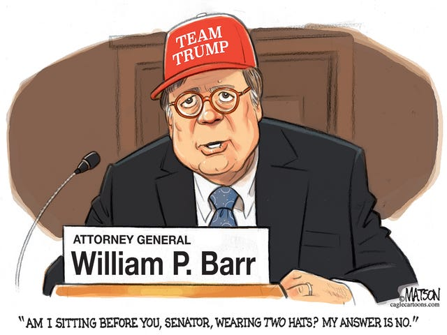 Image result for cartoon of WILLIAM BARR