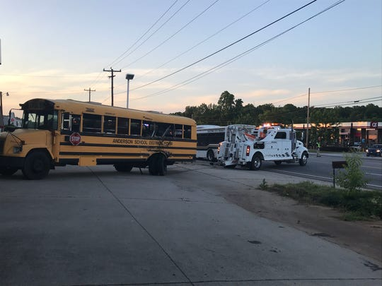 The scene of a bus wreck in Anderson County on Thursday, May 2, 2019.