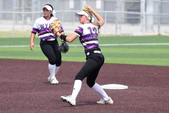 Wylie second baseman Kylie Barnes (13) makes a play during the area series sweep of El Paso Eastwood. The Lady Bulldogs take on Lubbock Coronado in the Region I-5A quarterfinals on Friday and Saturday in Hermleigh.