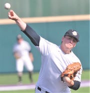 Clyde starter Riley Rice throws a pitch in the third inning of Game 1 against Bangs. The Bulldogs beat Bangs 6-3, before winning Game 2 5-4 to sweep the best-of-three Region I-3A series Thursday, May 2, 2019, at ACU's Crutcher Scott Field.