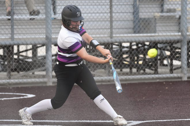 Wylie's Bailey Buck (4) hits a walk-off grand slam to end Game 2 of the Region I-5A area playoff series against El Paso Eastwood in Pecos on Thursday, May 2, 2019. The Lady Bulldogs completed the sweep with a 7-5 win after winning the first game 14-5.