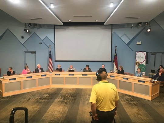 The Buncombe County Schools Board of Education at its May 3 meeting. In a 6-1 vote, the board selected former A-B Tech President K. Ray Bailey to serve on the college's Board of Trustees.