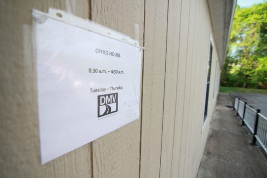 The only signage for the DMV office as of May 3 is this sheet of paper outside the office trailer.