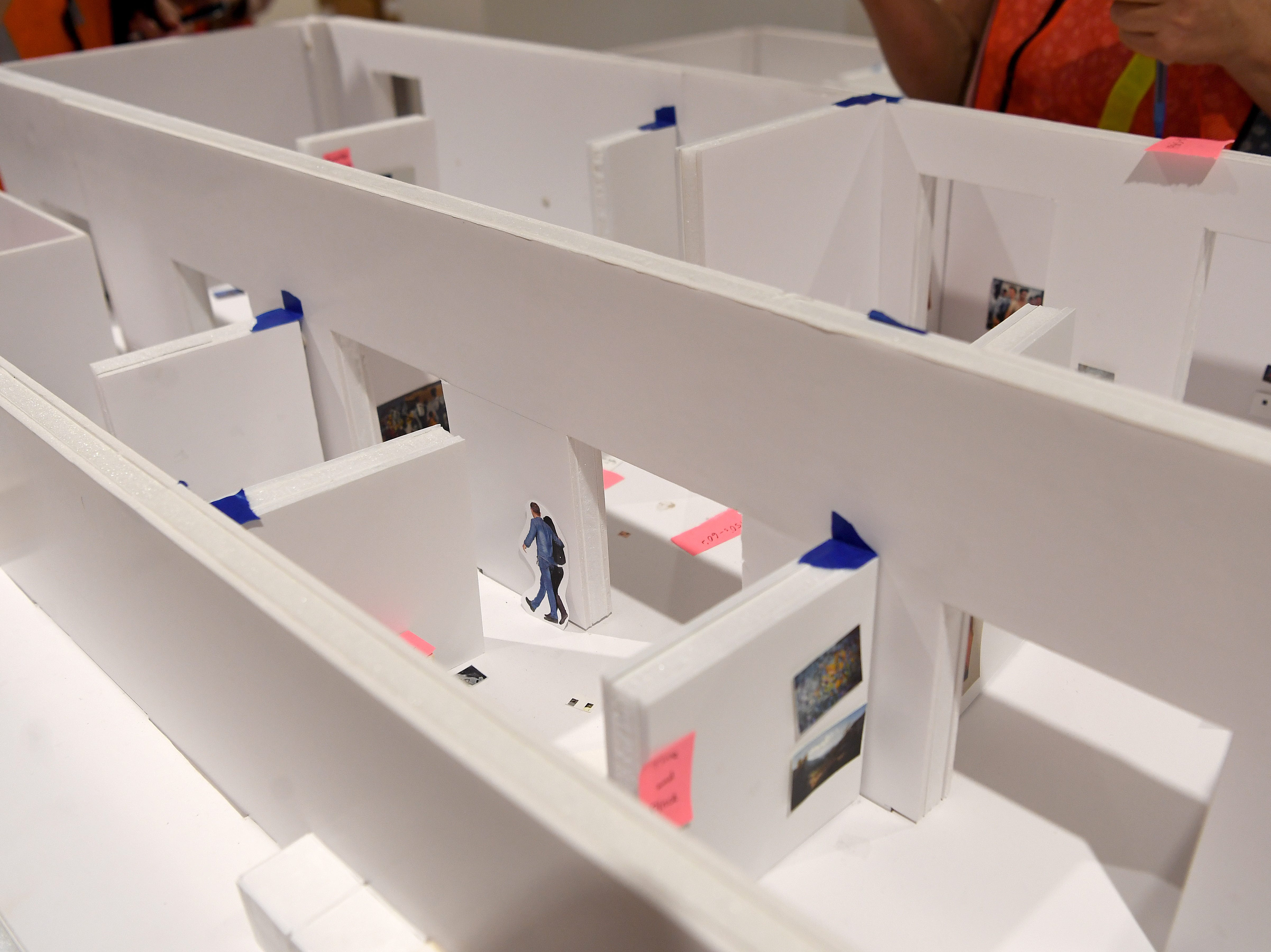 A scale model of the collection hall allows Asheville Art Museum curators to decide where pieces of art will be displayed when construction is complete.