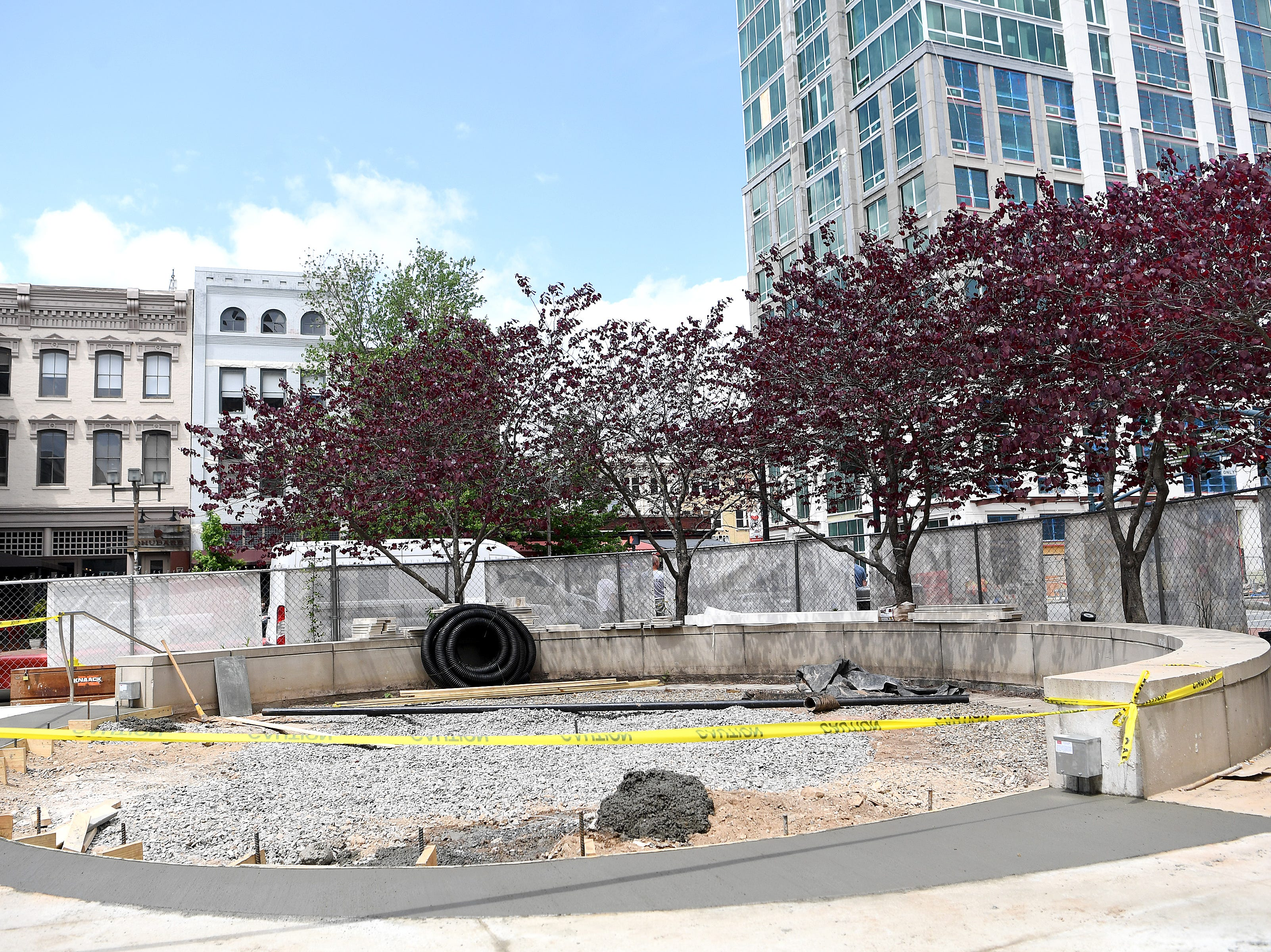 The plaza outside the main entrance to the new Asheville Art Museum during a tour on May 3, 2019. Construction is wrapping up in the museum which is part renovation, part historic preservation of the 1926 Pack Library building and part new construction.