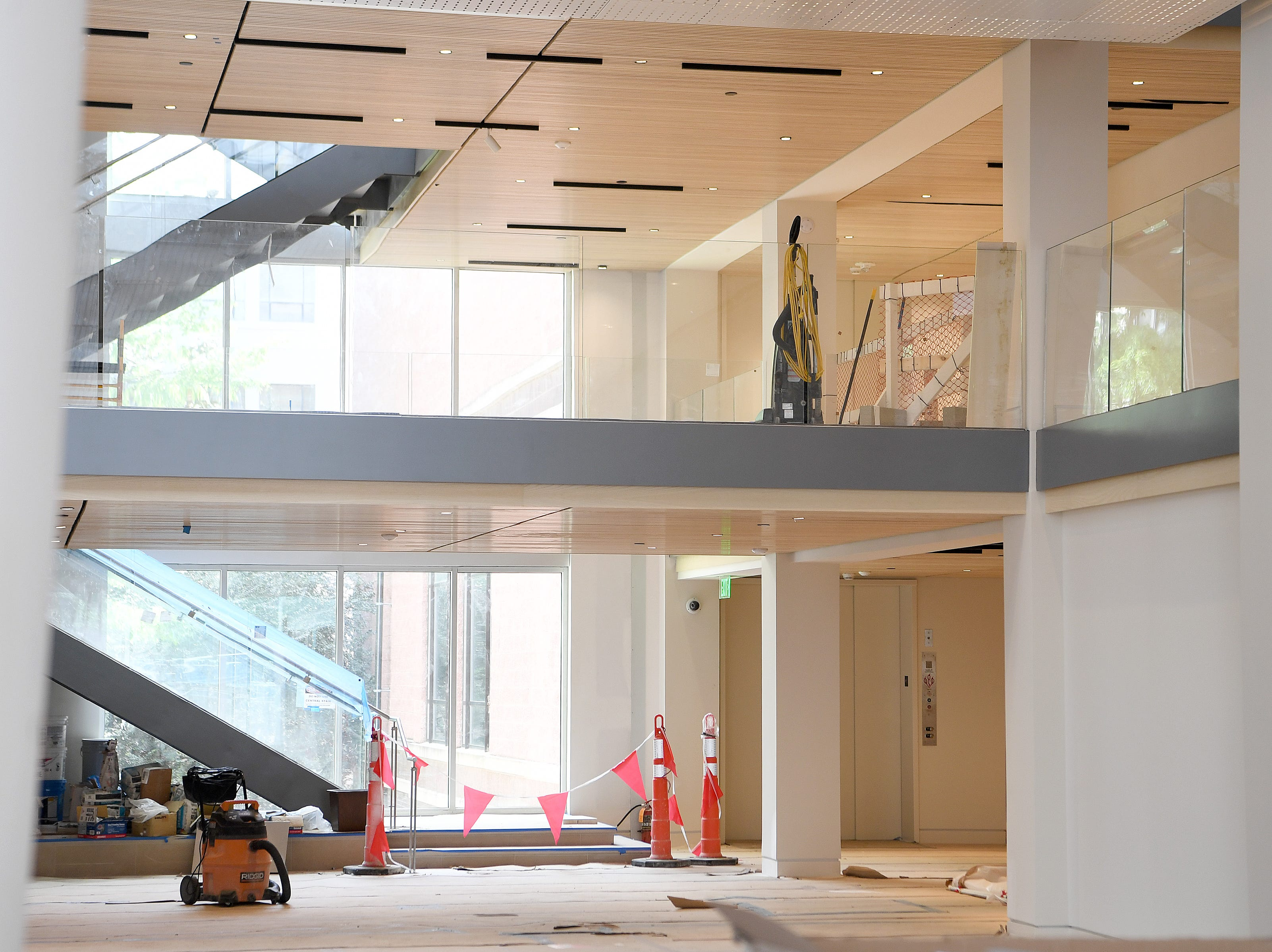 Construction is wrapping up in the new Asheville Art Museum which is part renovation, part historic preservation of the 1926 Pack Library building and part new construction and is scheduled to open sometime this summer.