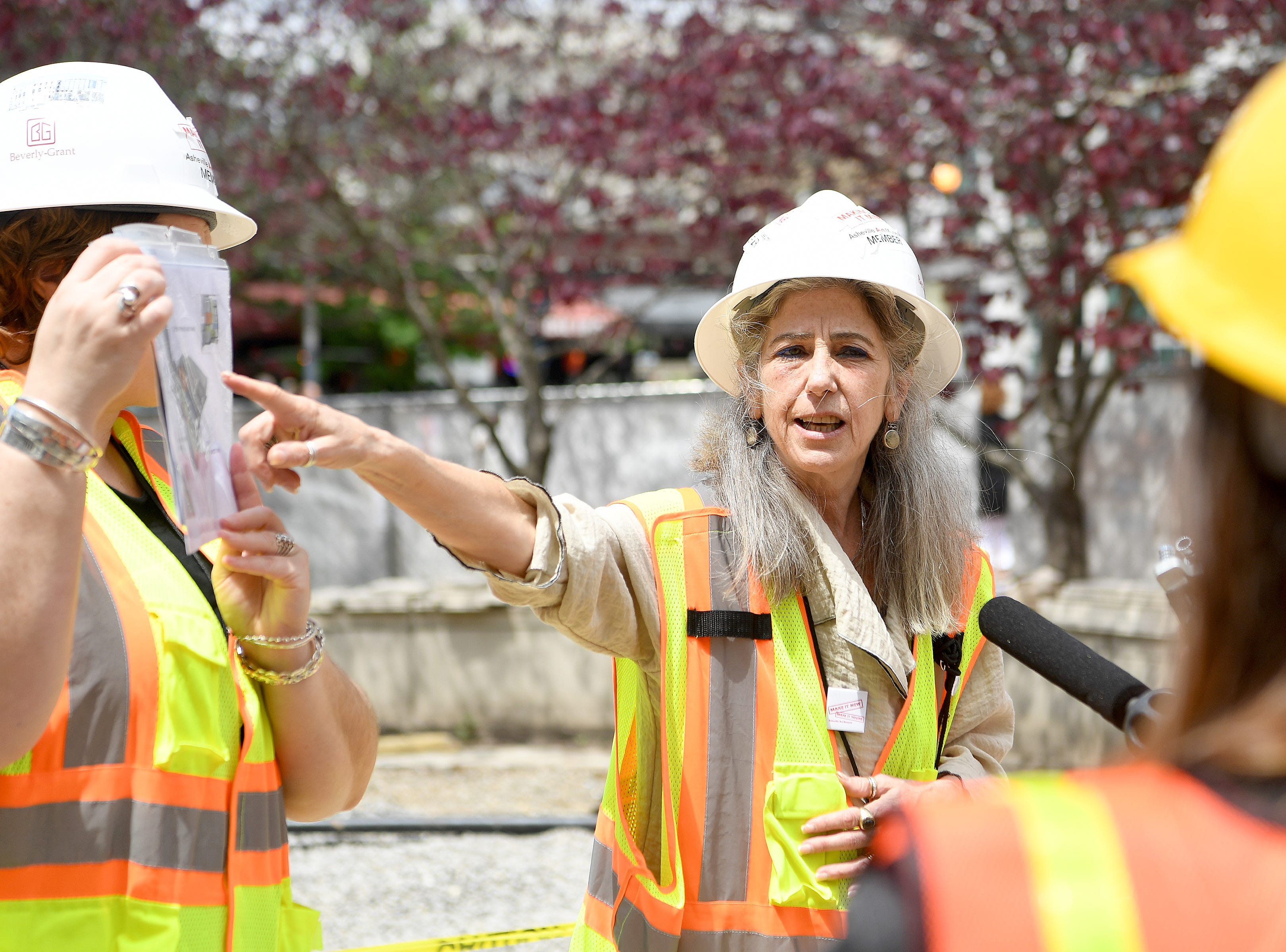 Asheville Art Museum executive director Pamela Myers gives a media tour on May 3, 2019 of the new museum where construction is being wrapped up for a summer opening.