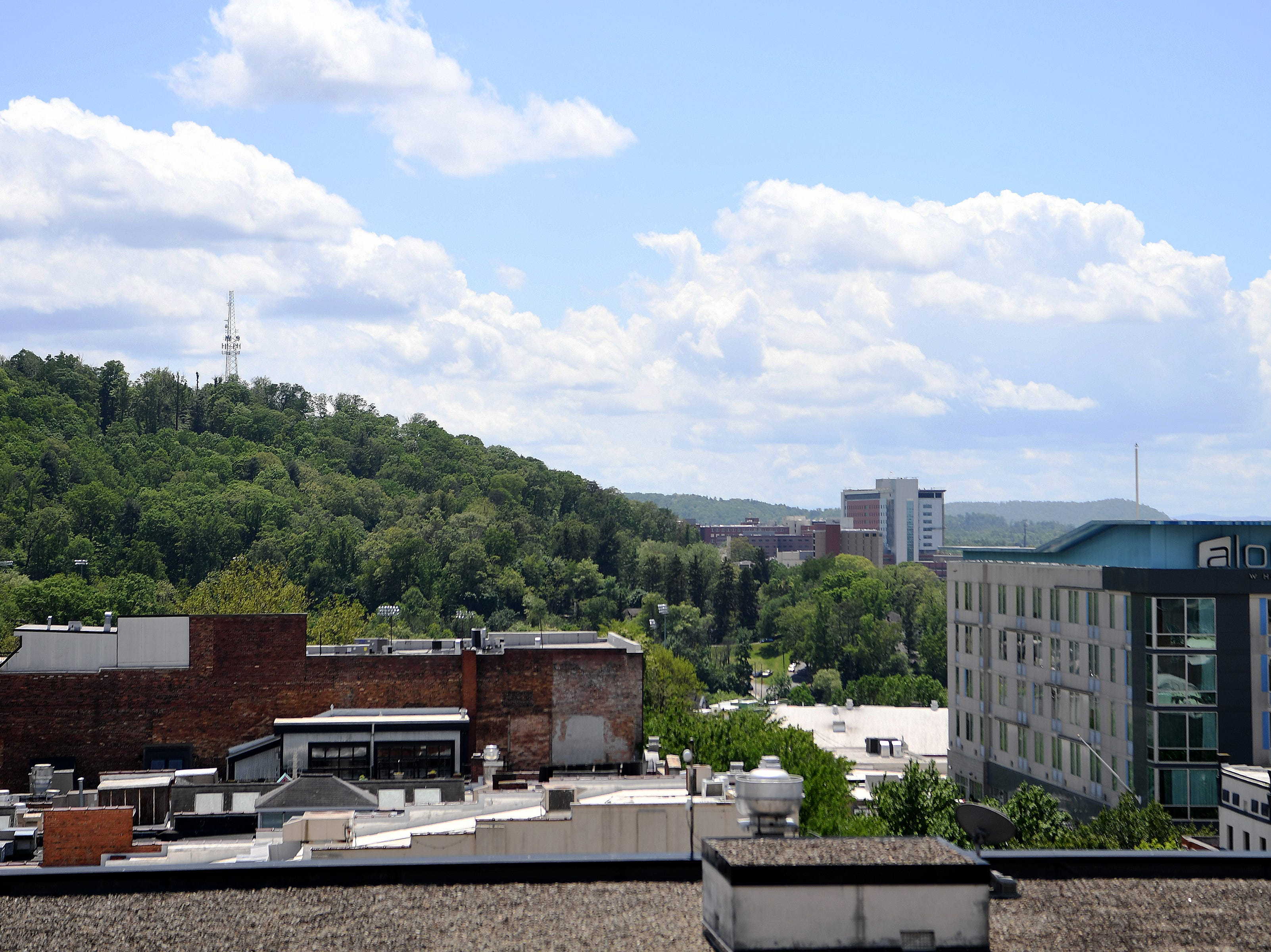 The view from the balcony of the new Asheville Art Museum which will be rooftop sculpture terrace when complete.