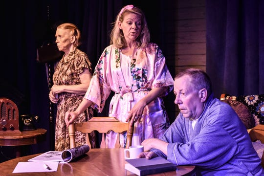 "Jenny Sellar (from left), Melissa Munden and Fred Saas star in the Jewel Box Theatre's production of ""The Trip to Bountiful."""