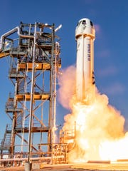 On May 2, 2019, Blue Origin's New Shepard rocket and capsule blasted off from the company's private West Texas range, carrying 38 research and technology payloads. The New Shepard-11 capsule flew above 65 miles, and the booster launched and landed for a fifth time.
