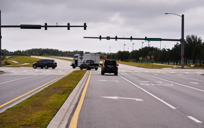 Looking north at the intersection of Lake Andrew Drive and Judge Fran Jamieson Way in Viera. Lake Andrew Drive terminates just beyond the traffic light.