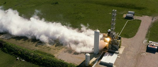 """On a test stand in Texas, Firefly Aerospace completed a 300-second test-firing of an Alpha rocket's upper stage. The company called the test a """"major milestone"""" toward qualifying the stage for flight and achieving a first launch this year planned from California."""