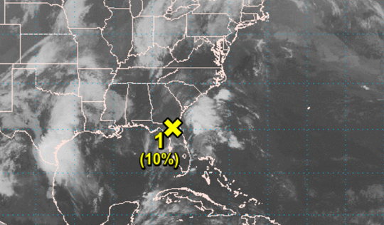 This map depicts the location of the weather disturbance Friday morning.