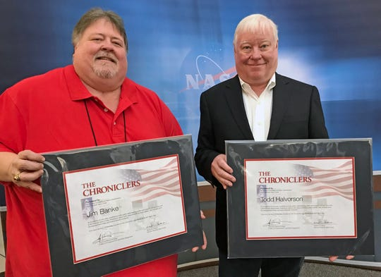 "Former FLORIDA TODAY space reporters Jim Banke. left, and Todd Halvorson, had their names added to NASA's ""Chroniclers,"" a list of retired journalists, broadcasters, authors and public relations representatives who have excelled at telling the story of America's evolving space program."