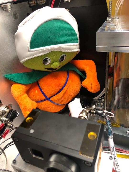 University of Central Florida faculty flew a plush Citronaut -- the school's unofficial original mascot -- to space aboard Blue Origin's suborbital New Shepard capsule, which launched 38 research and technology experiments including UCF's Strata-S1 from Texas on May 2, 2019.