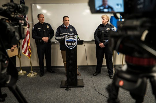 From center left, Burlington Police Deputy Chief Jon Murad, Chief Brandon del Pozo and Deputy Chief Jan Wright hold a news conference on Friday, May 3, 2019, to address questions about two federal lawsuits that accuse police officers of excessive force and brutality in separate episodes outside bars in September 2018.
