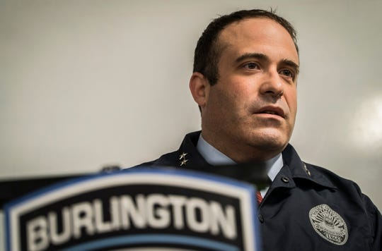 Burlington Police Chief Brandon del Pozo answers questions during a news conference on Friday, May 3, 2019, about two federal lawsuits that accuse police officers of excessive force and brutality in separate episodes outside bars in September 2018.