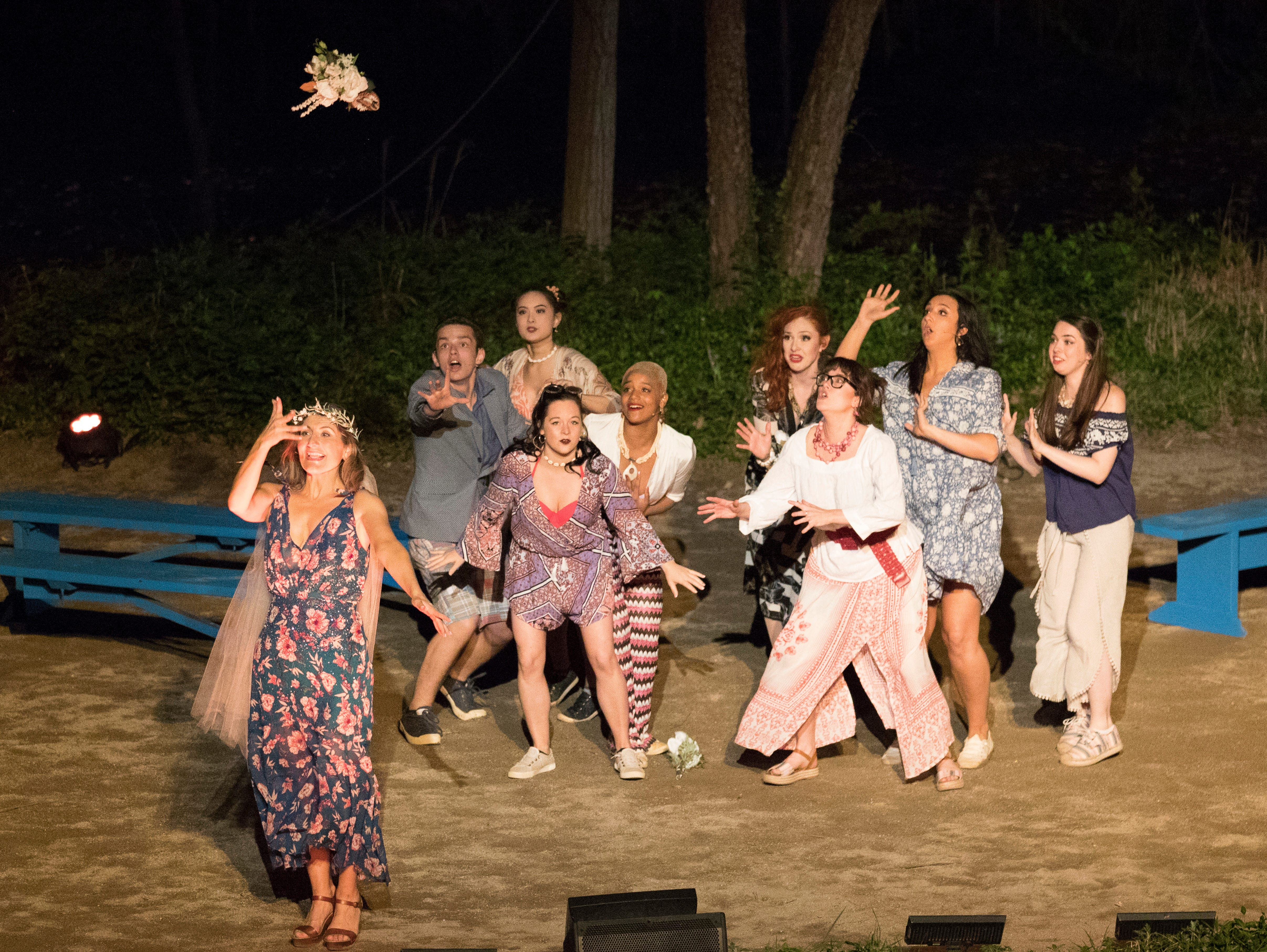 """Producer Brian Clowdus brings the hit musical """"Mamma Mia!,"""" based on the popular songs sung by Swedish pop group ABBA, to the Sugarloaf Mountain Amphitheatre through May 12. The musical tells the story of a young woman who is about to be married and wants to discover the identity of her father by inviting three men from her mother's past. Itstars Betsy Padamonsky, Lauren Rabe, and Jay Reid along with Chillicothe locals Joey Manna, Jaxon Newsome, and Josh Houston. For more for more information and tickets, visit tecumsehdrama.com."""