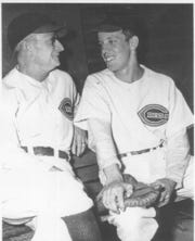 With many major leaguers off to war, the Cincinnati Reds signed 15-year-old Joe Nuxhall to pitch the 1944 season. He is pictured with manager Bill McKechnie.