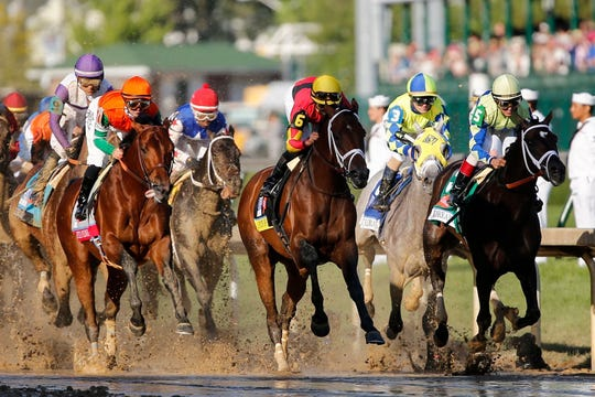 Always Dreaming, far right, runs to victory in the 143rd running of the Kentucky Derby May 6, 2017 at Churchill Downs in Louisville, Ky.