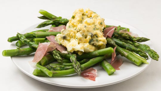 Wow up your asparagus with egg salad