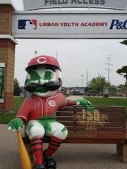 A Mr. Redlegs bench at the Cincinnati Reds Urban Youth Academy recently was vandalized.
