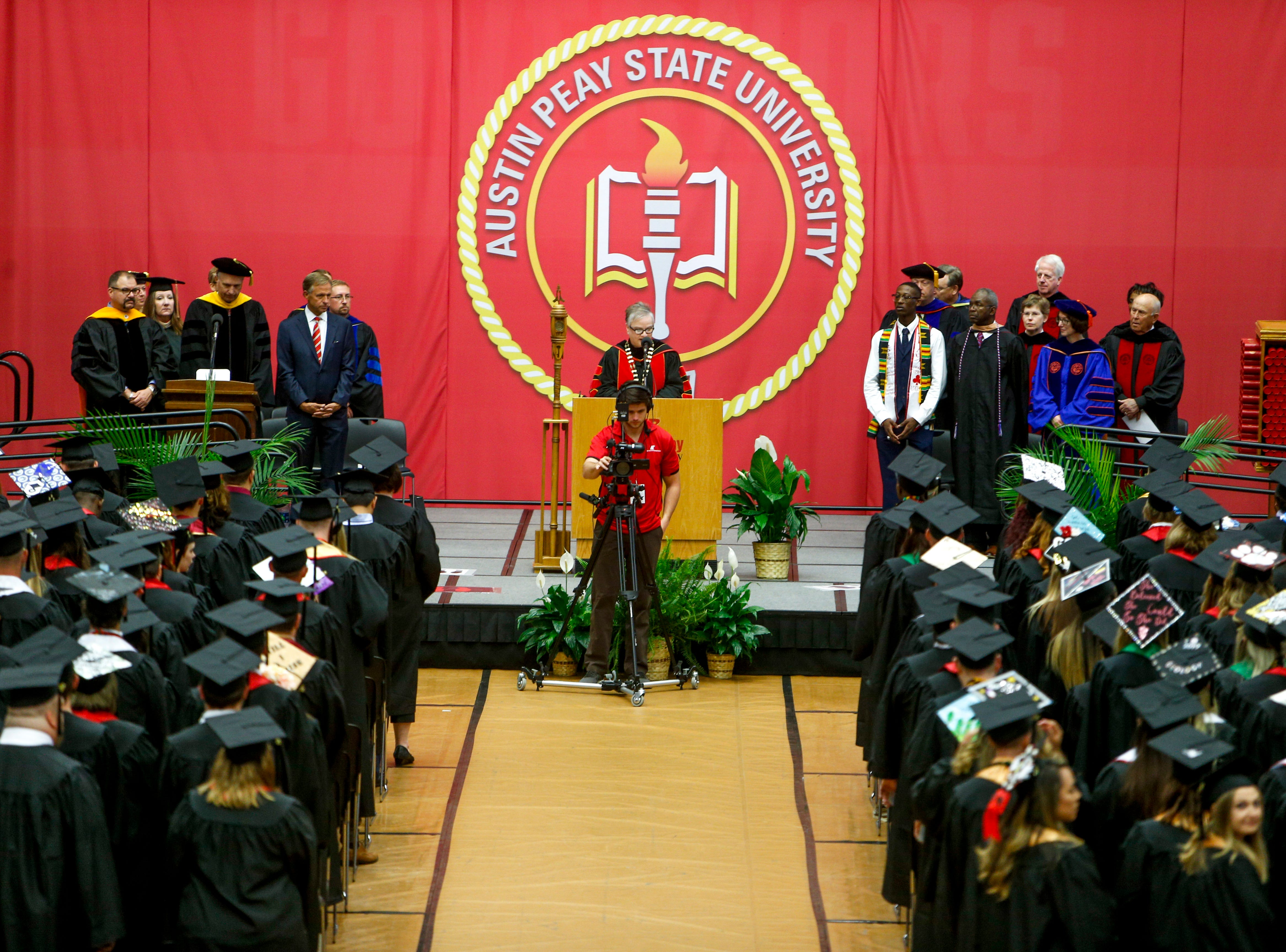 Speakers welcome students at the Austin Peay spring commencement ceremony 2019 for College of Business and College of STEM at Winfield Dunn Center in Clarksville, Tenn., on Friday, May 3, 2019.