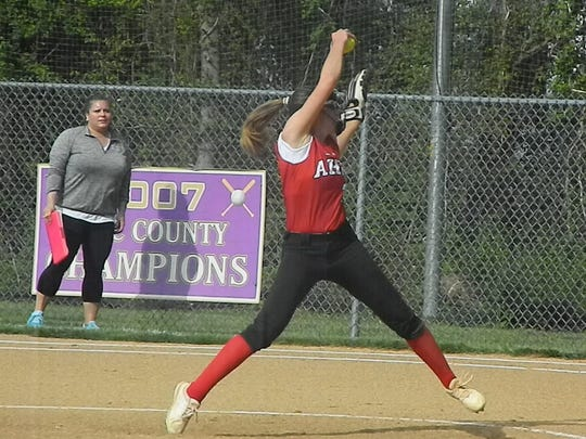 Bishop Ahr's Alyssa DeJianne pitches against Monroe on Thursday, May 2, 2019.
