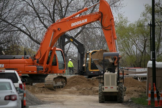 The northern most point on the outer perimeter road of Belle Isle is under construction. Belle Isle has many projects going on simultaneously the Detroit Free Press photographs flooding, construction and Grand Prix set up Thursday, May 2, 2019.