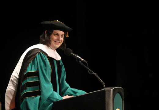 Detroit's own Jack White is all smiles while addressing Wayne State University graduates after receiving his